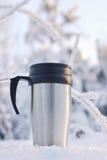 Coffee thermos mug Stock Images