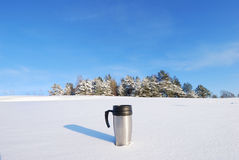Coffee thermos mug Royalty Free Stock Images