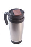 Coffee thermos mug with chocolate Royalty Free Stock Photography