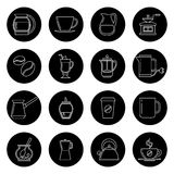 Coffee thin line vector icons set in black and white Stock Photos