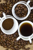 Coffee three phases. Coffee, coffee bean and ground coffee Royalty Free Stock Photos