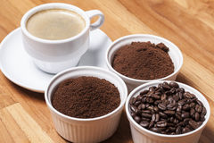 Coffee in three types Royalty Free Stock Photos