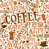 Coffee tile. Vector seamless tile of coffee words and symbols royalty free illustration