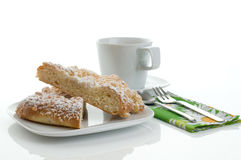 Coffee time 1. Sweets, cake and a cup of coffee in front of white backgroung Royalty Free Stock Photography