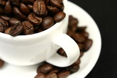 Coffee time. Cup of coffee with beans isolated Stock Image