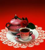 Coffee Time. Oriental serve of coffee in red ambient stock photography