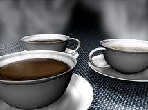 Coffee time. Computer generated coffee cups on metal table Royalty Free Stock Photo