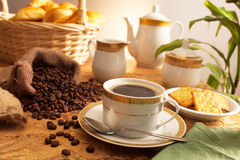 Coffee time. Nice rich black coffee served in traditional china coffee set Stock Photography