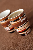 Coffee time. Picture of a brown coffee mugs royalty free stock photos