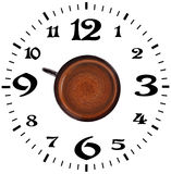 Coffee time. Coffee and a dial on a white background Royalty Free Stock Photo