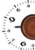 Coffee time. Cup coffee and a dial on a white background Royalty Free Stock Photos
