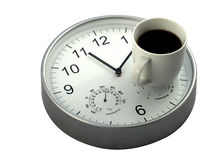Coffee Time. Mid morning coffee break, mug of coffee and clock stock images