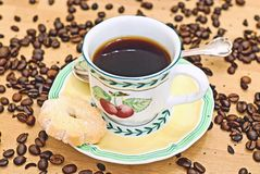 Coffee time. A pot of coffee on a wooden table royalty free stock images