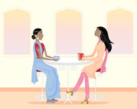 Coffee time. An illustration of two asian women drinking coffee and chatting in a cafe Royalty Free Stock Image