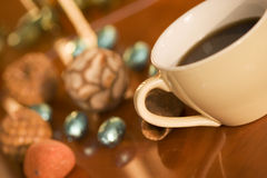 Coffee time. Coffe with eggs and decor out of focus Royalty Free Stock Photos