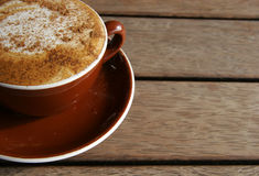 Coffee time. Cappucino cup, photo taken on a summer day royalty free stock photo