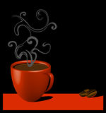 Coffee time. Red mug with coffee over black background Stock Images