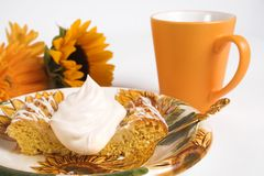 Coffee time. Coffee and cake with flowers stock photo