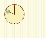 Coffee time. Clock on striped wall with hands pointing to coffee cup indicating it is coffee time stock illustration