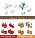 Coffee time abstract cafe concept flat 3d web isometric infographic . Stock Images