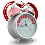 Coffee time. The alarm clock with an inscription Stock Photography
