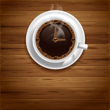 Coffee time. Arrows of clock on the coffee surface. Coffee time concept Royalty Free Stock Image