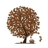 Coffee time. Art tree for your design Royalty Free Stock Photos