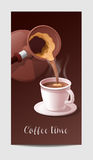 Coffee Time Banner with Coffee Cup and Heart Shaped Steaming Royalty Free Stock Images