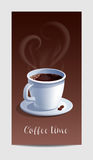 Coffee Time Banner with Coffee Cup and Heart Shaped Steaming Royalty Free Stock Photo