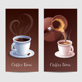 Coffee Time Banner with Coffee Cup and Heart Shaped Steaming Stock Image