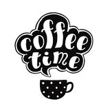 Coffee time black ink handwritten lettering with cup. Part two. Royalty Free Stock Photography