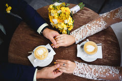 Coffee time for bride and groom Royalty Free Stock Photo