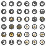 Coffee time cafe drink modern icon set. Flat modern colorful coffee time cafe drink related button set isolated on white background Royalty Free Stock Photography