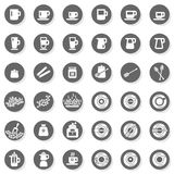 36 coffee time cafe drink related button set Royalty Free Stock Image