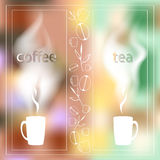 Coffee time card with a cup of tea on a background of city dawn written on glass Stock Photography