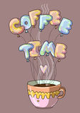 Coffee time cartoon creative Stock Photos
