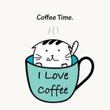 Coffee Time With Cat Cup. Vector illustration EPS 10 Stock Images
