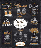 Coffee time chalkboard designs set for cafe or restaurant. Best coffee, desserts, extras, take out concepts collection, hand drawn graphic illustration vector illustration