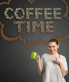 Coffee time. Cheerful woman with cup of coffee over design background Royalty Free Stock Image