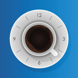 Coffee time with clock concept Royalty Free Stock Image