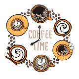 The `coffee time` clock is decorated with cups and coffee beans. Vector image isolated on white Stock Photography