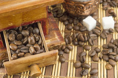 Coffee time. Coffee beans in all grinder drawer Stock Photography