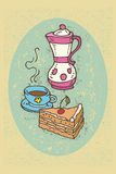 Coffee Time. Color vector illustration with cup of coffee and cake in retro style Stock Photos