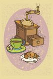 Coffee Time. Color vector illustration with cup of coffee and croissant in retro style Royalty Free Stock Photo