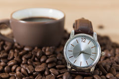 Coffee time concept ,Coffee beans and coffee cup Stock Images