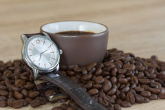 Coffee time concept ,Coffee beans and coffee cup Royalty Free Stock Photo
