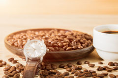 Coffee time concept ,Coffee beans and coffee cup Royalty Free Stock Photos