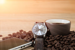 Coffee time concept ,Coffee beans and coffee cup Royalty Free Stock Image