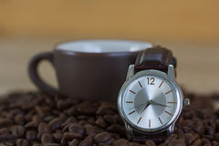 Coffee time concept ,Coffee beans and coffee cup Royalty Free Stock Images