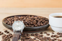 Coffee time concept ,Coffee beans and coffee cup Stock Photo